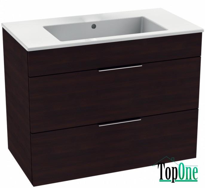 Комплект в ванную комнату JIKA CUBE умывальник 100см, 2 ящика, темный дуб H4536521763021