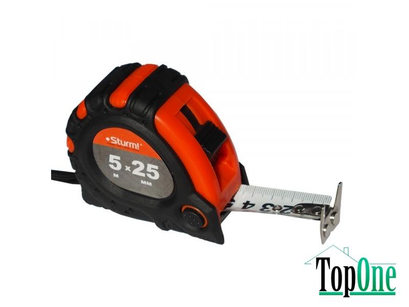 Рулетка 5мх25мм 2х сторонняя шкала и зацеп, магнит Sturm 3100102