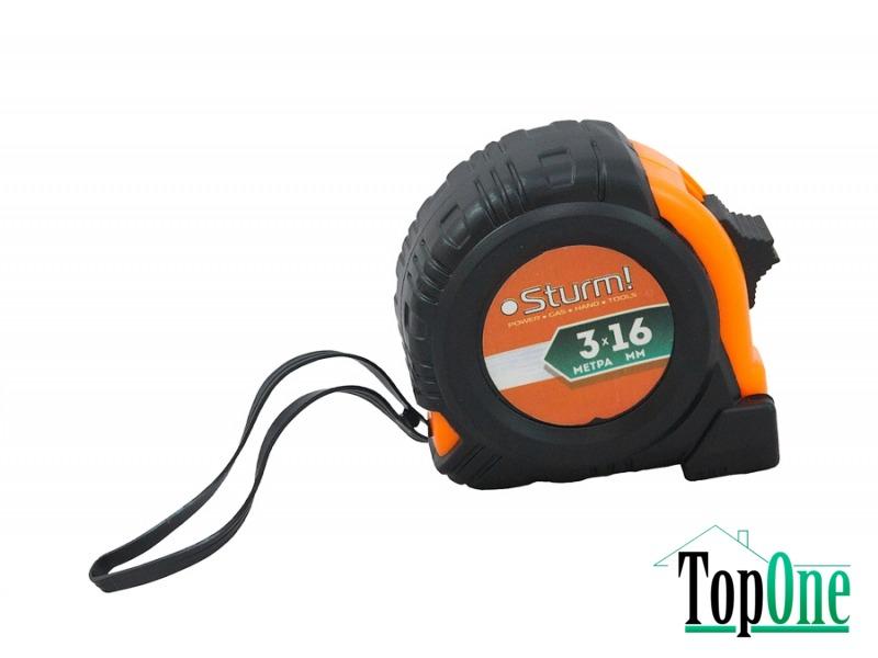 Рулетка 3мх16мм обрезиненная Sturm с магнитом 3100401