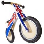 Беговел 12\ Kiddimoto Kurve деревянный, британский флаг SKD-58-02