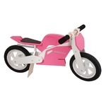 Беговел 12\ Kiddimoto Superbike деревянный, розово-белый SKD-91-34